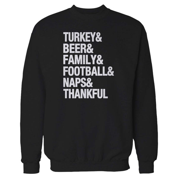 Turkey And Beer & Family Football Naps Thanksgiving Thankful Holiday Awesome Gift Present Graphic Sweatshirt