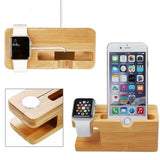 Bamboo watch/phone charging dock