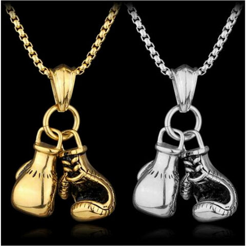Stainless Chain Pair Boxing Glove Pendants Necklace