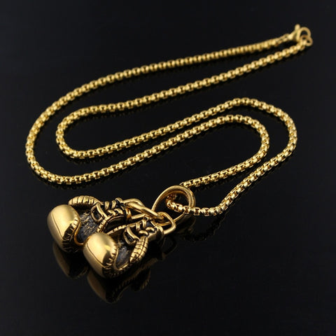 Free Stainless Chain Pair Boxing Glove Pendants Necklace