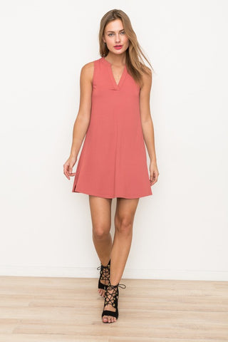 Vneck Ribbed Dress with Crochet & Lace Cutoout Back - Coral