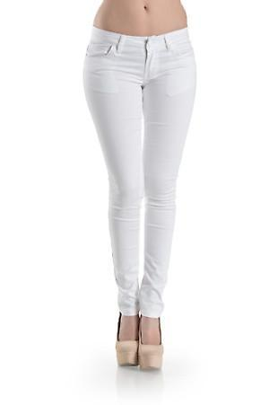 White Basic 5 pocket stretchy jeans