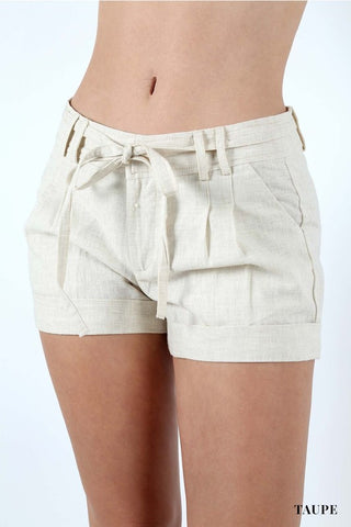 Textured Linen Shorts - Taupe or Mocha