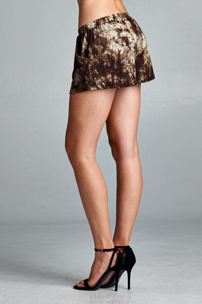 Loose fit tie dye shorts - Olive/Brown