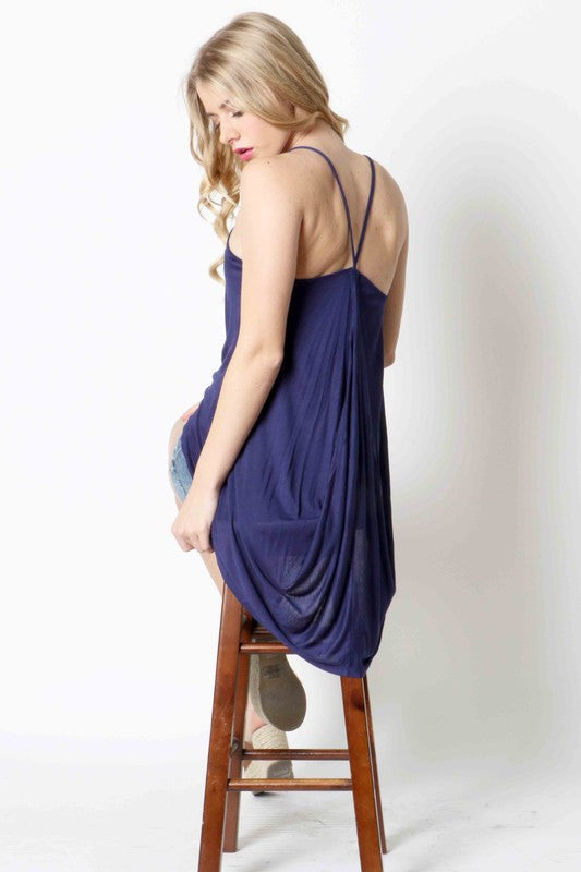 High-Low Drippy Tail Back Tank - blue