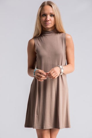Mock Neck Sleevless Dress - Taupe