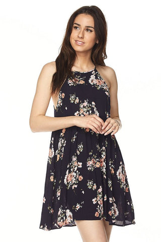 Floral Print Haltered Swing Dress