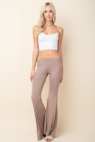 Solid Bell Bottom Knit Pants - Mocha
