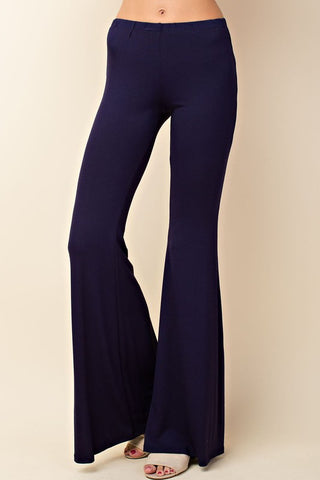 Solid Bell Bottom Knit Pants - Navy