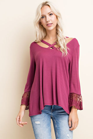 Ribbed top with Lace and Neck Strap Detail - Plum