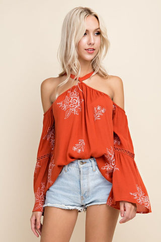 Floral Embroidered Cold Shoulder Bell Sleeve - Orange