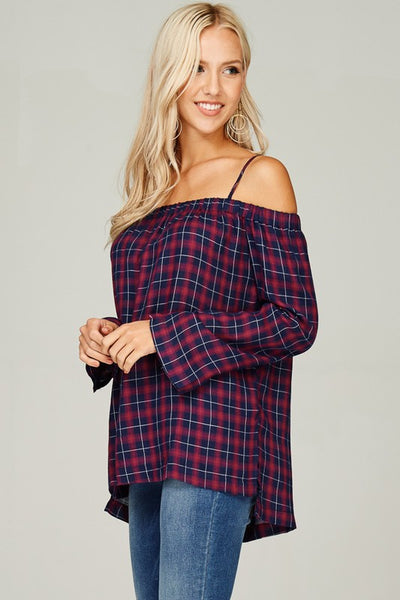 Come As You Are Plaid Off Shoulder Top - Mulberry