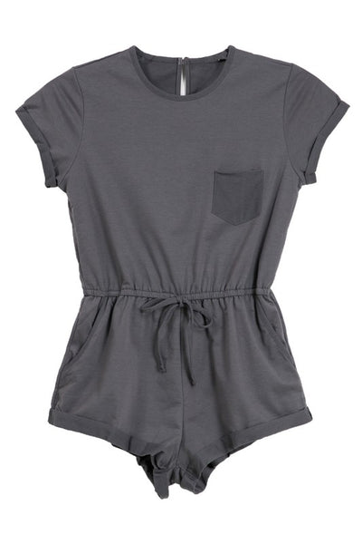 French Terry Short Sleeve Romper - Charcoal