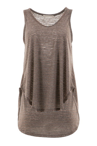 Striped Burnout Curved Hem Tank - Brown