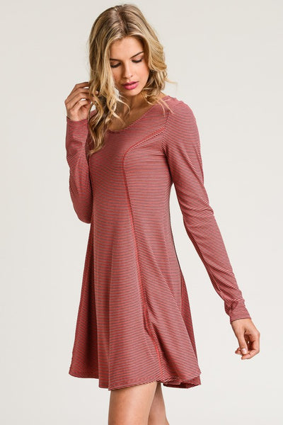 Ribbed Long Sleeve Striped Dress with tie up back - Mauve