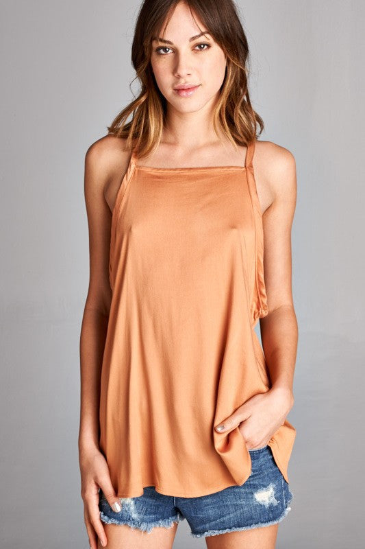 e5ca2611381fc Chevron strap back tank top - Caramel – The Pink Rose Boutique