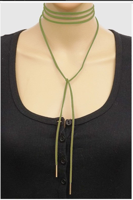 Wrap Multi Tie Choker - Light Green