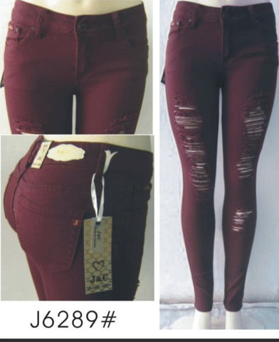 Distressed Jeggings - Burgundy