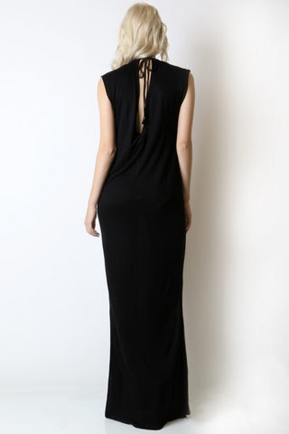 Deep V Open Back Dress with Tie - Black