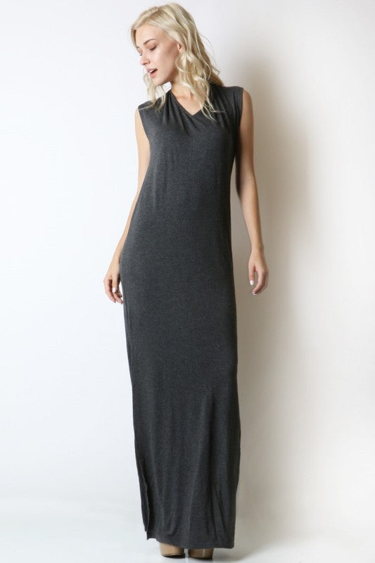 Deep V Open Back Dress with Tie - Charcoal