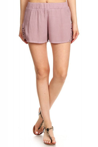 Crinkle shorts with lace trim - Mauve