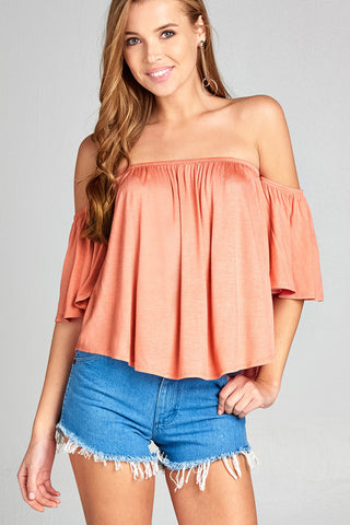 Off Shoulder Short Sleeve Top - Apricot