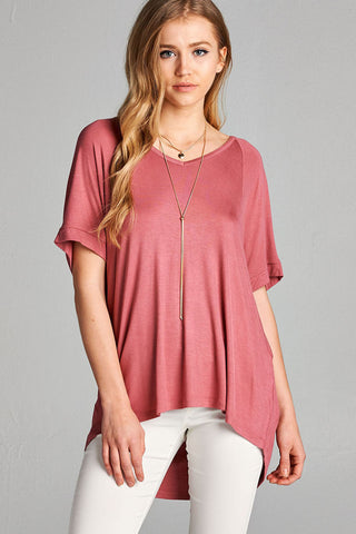 V-neck High Low Short Sleeve Top - Dark Pink