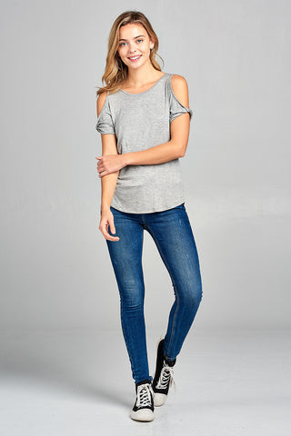 Twisted Open Shoulder Short Sleeve Top - Heather Gray