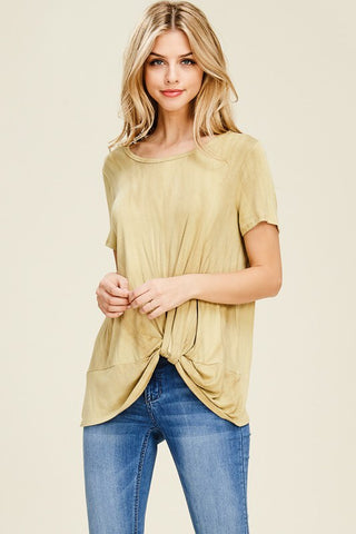 Twist front short sleeve top - Mustard