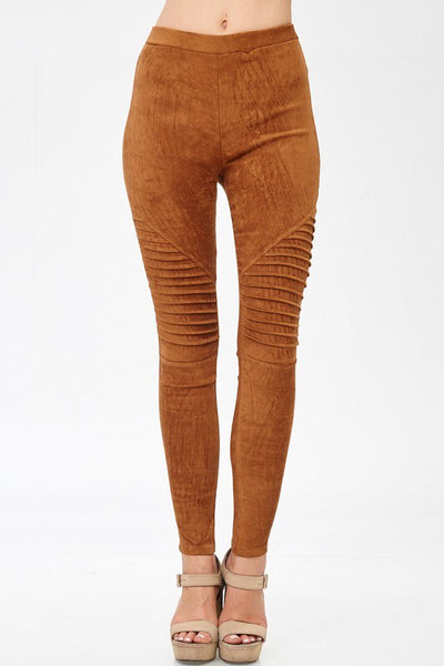 Can You Feel Me Faux Suede Moto Pants - camel