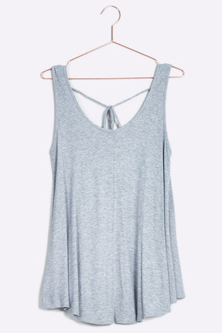 Tie back tank top - Heather Gray