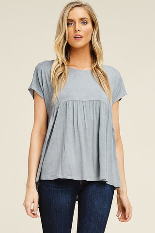 Mineral wash babydoll top - Gray