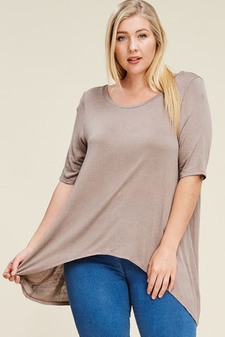 Plus Size Slit Back 3/4 sleeve top - Mocha