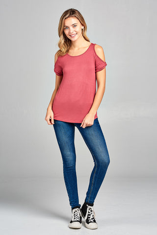 Twisted Open Shoulder Short Sleeve Top - Raspberry Pink