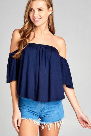Off Shoulder Short Sleeve Top - Navy