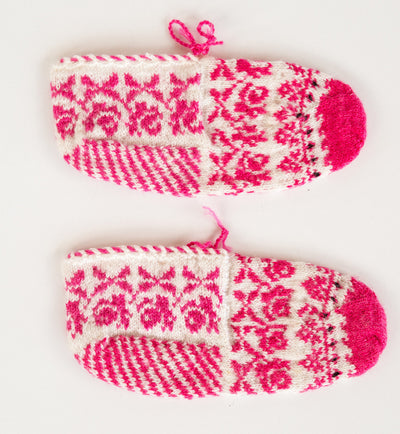 Turkish Hand Knitted Wool Slippers Baby Pink Black Looms