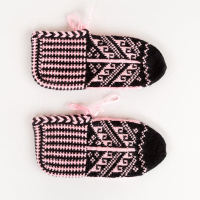 Turkish Hand Knitted Wool Slippers Anatolian Light Pink Black Looms