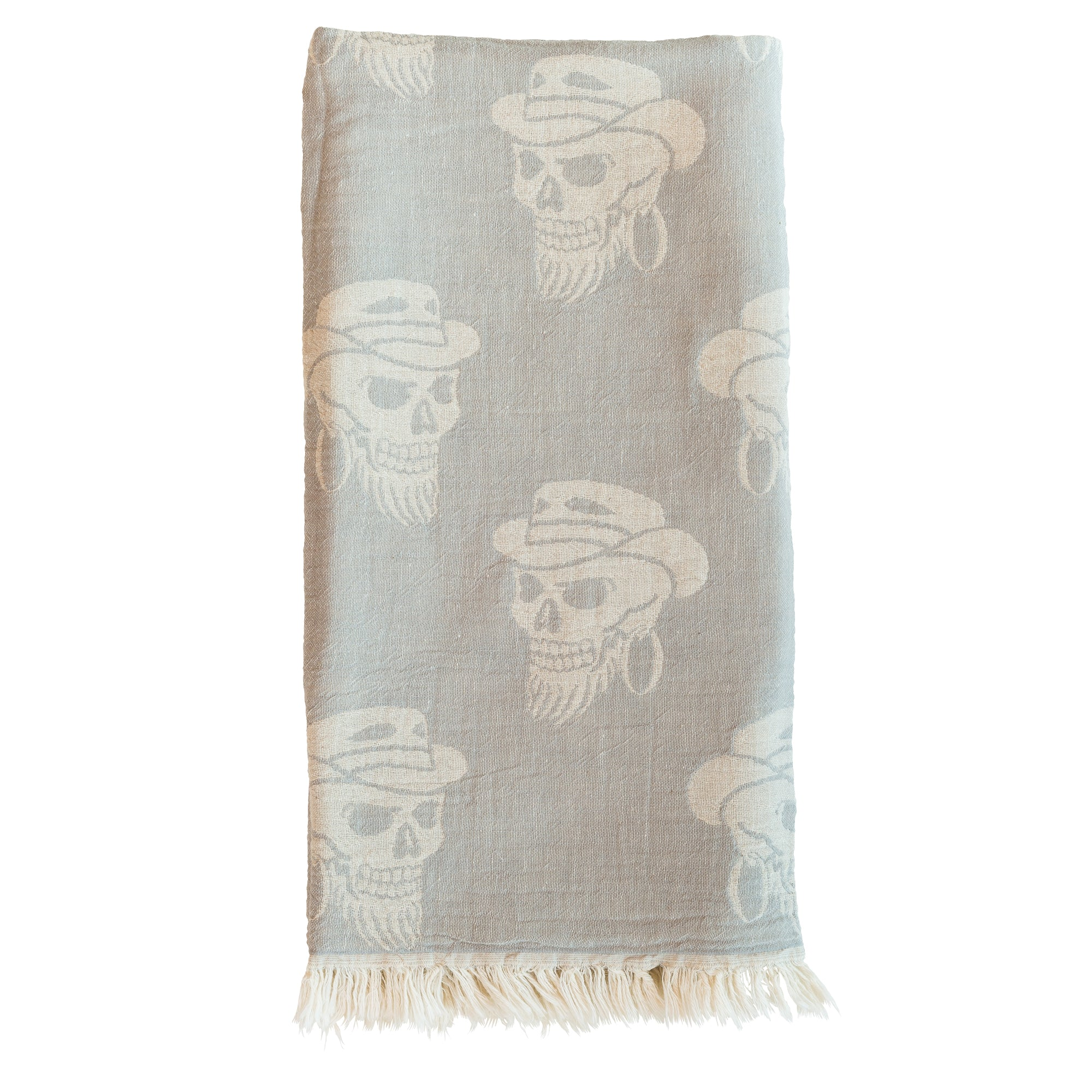 Skulls Peshtemal Double Sided Light Grey Beach & Spa Towel Sarong ...