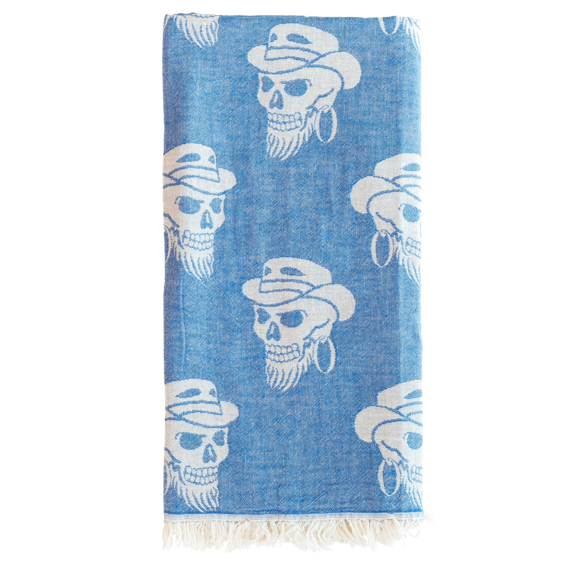 Skulls Peshtemal Double Sided Blue Beach & Spa Towel Sarong - Black ...