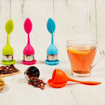 Silicone and Stainless Steel Leaf Tea Strainer-Bondi Beach Tea Co