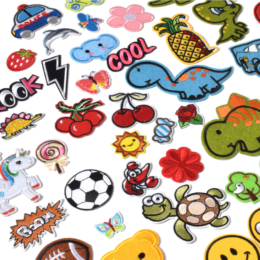 J.CARP Embroidered Iron on Patches, Cute Sewing Applique for Clothes Dress, 60PCS