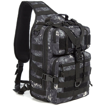 J.CARP Tactical EDC Sling Bag Pack, Military Rover Shoulder Molle Backpack, with USA Flag Patch, Black ACU