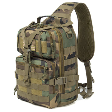 J.CARP Tactical EDC Sling Bag Pack, Military Rover Shoulder Molle Backpack, with USA Flag Patch, Jungle Camouflage