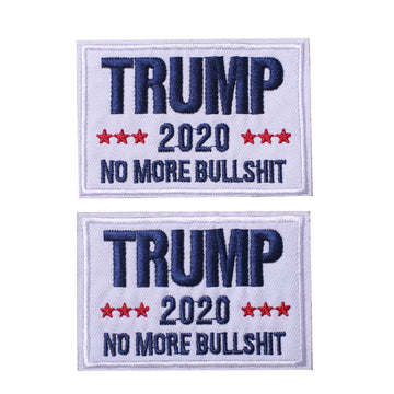 Trump 2020 White No More BS MAGA, Hook & Loop Patch 2 PCS