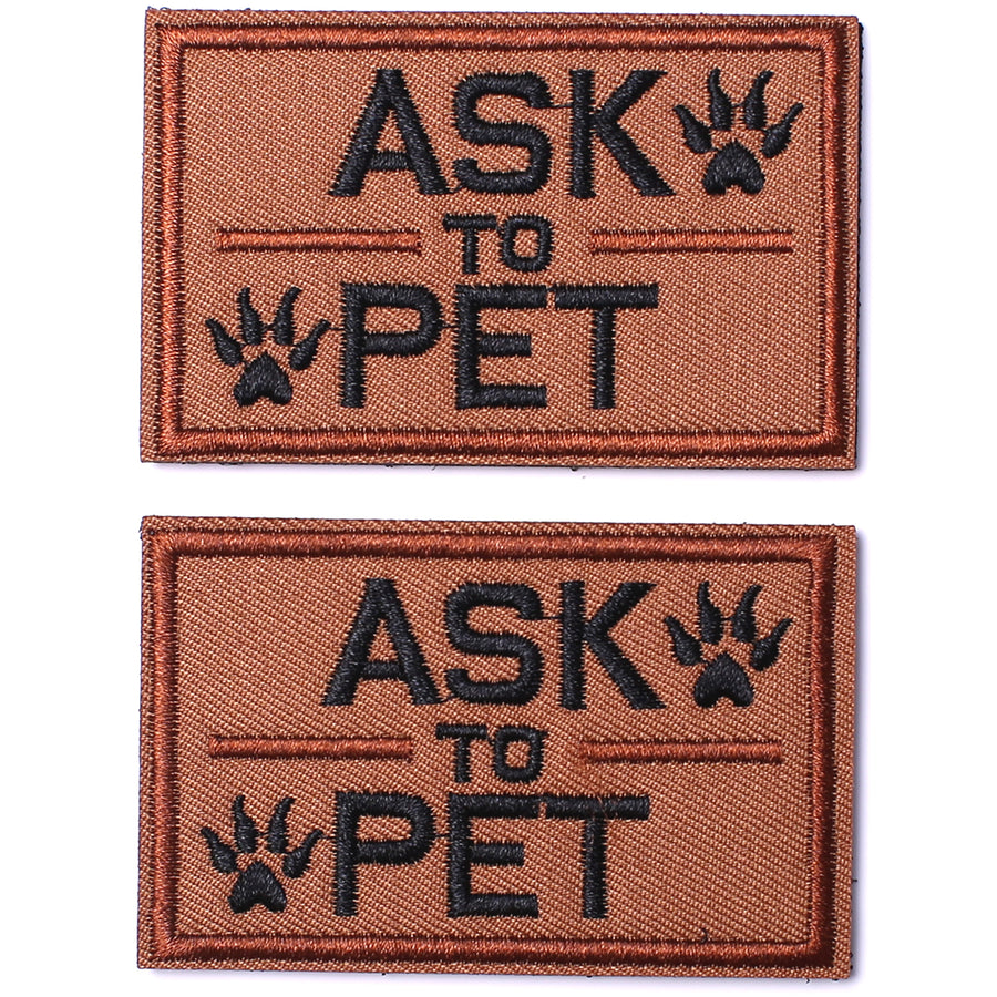 2 Pack Ask to Pet Dog Patches, Tags for Hook and Loop Patches Vests and Harnesses for Dogs, Tan