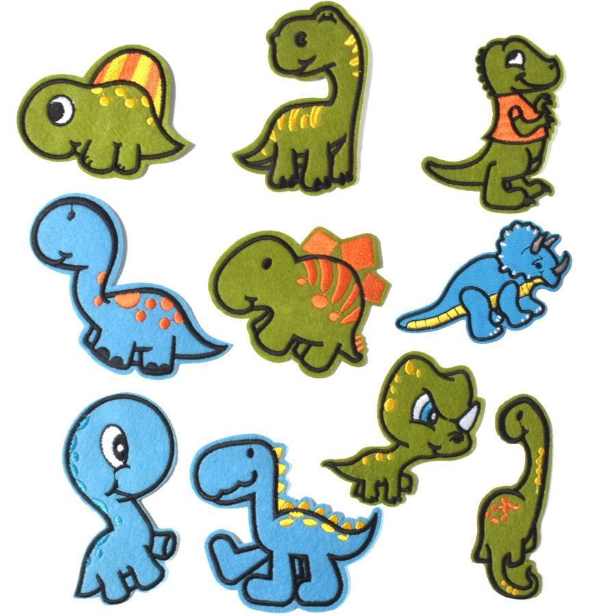 J.CARP Embroidered Iron on Patches, Cute Sewing Applique for Clothes Dress, 10PCS Dinosaurs