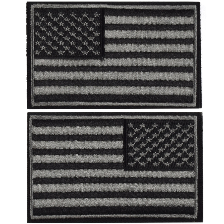 2 Pieces Tactical US American Flag Patch, Military USA United States of America Uniform Emblem Patches, Multitan-Reverse Balck