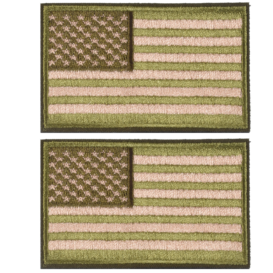 2 Pieces Tactical US American Flag Patch, Military USA United States of America Uniform Emblem Patches, Green