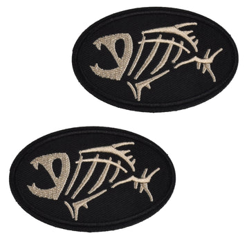 Jolly Pirate Fish Embroidered Patch, Ellipse