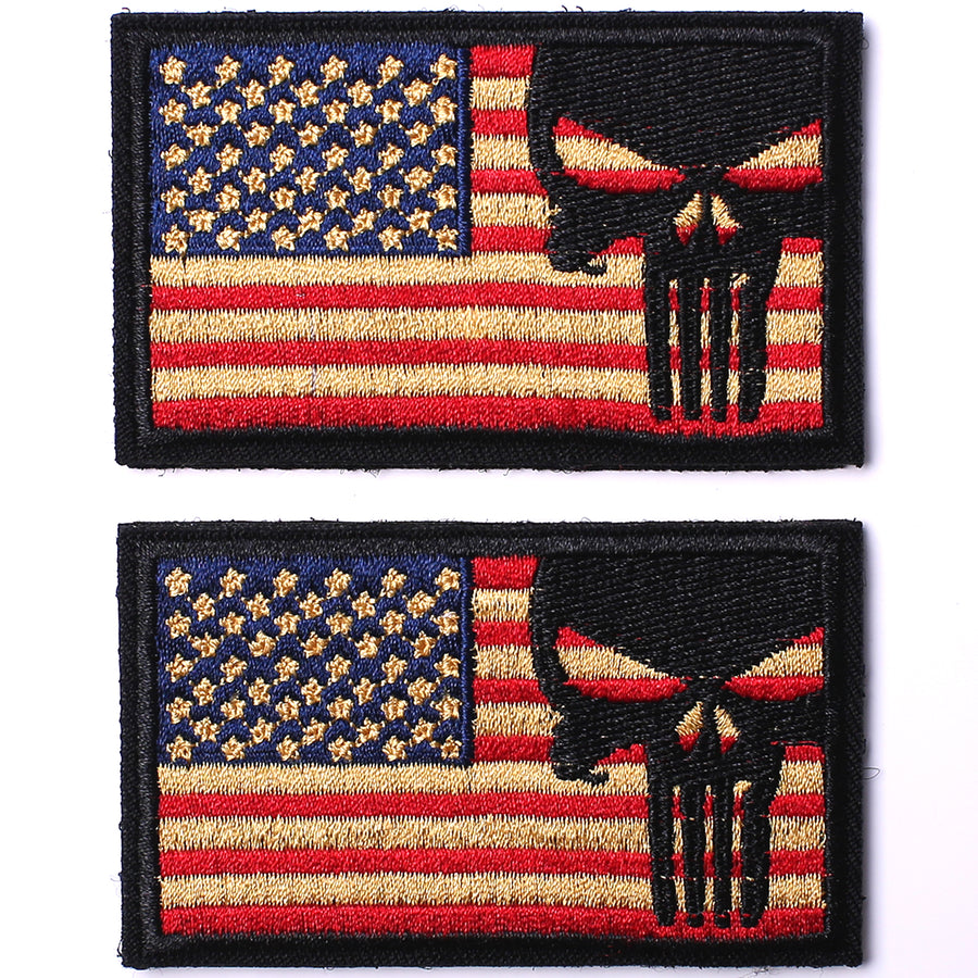 6 Pieces Dead Skull Don't Tread on Me USA American Flag Tactical Morale Hook & Loop Patch